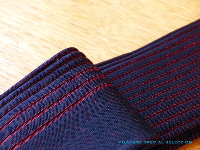 chaussettes Bresciani à côtes contrastées