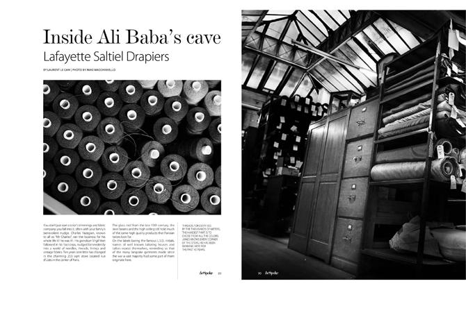 "BeSpoke magazine, n° 16 : ""Inside Ali Baba's cave: Lafayette Saltiel Drapiers"", by Laurent Le Cam"