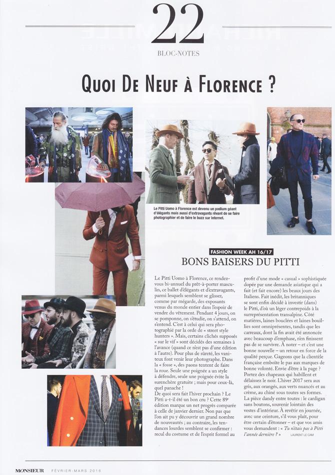 """Monsieur magazine, n° 120 : """"Bons baisers du Pitti"""", par Laurent Le Cam"""